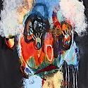 Photo  de © détail d'une oeuvre de Nadine Bourgne - expo Visages et Couleurs 2011